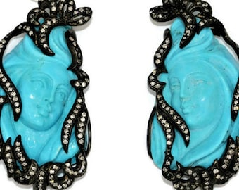 Certified Hand Carved Big Turquoise Earrings, Natural Turquoise Boho Black Earrings, Red Carpet Jewelry, Sculpture Luxury High End Earrings