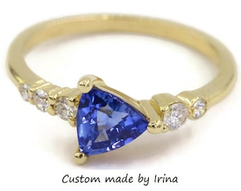 Triangle Royal Blue Sapphire + Diamonds Cluster Ring, Trillion Sapphire Engagement Ring, 14k Yellow Gold Asymmetric Unique Proposal Ring