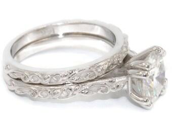 Moissanite Ring set, Forever One Moissanite Engagement wedding ring set, Leaf rings, rustic nature filigree rings set, boho moissanite ring