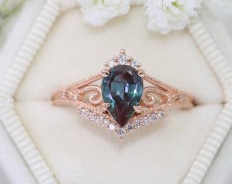 Pear Alexandrite Ring, Vintage Crown Pear Ring, Tiara Ring for a Princess, Art Deco Alexandrite Ring, 1.5 carat pear Engagement Ring