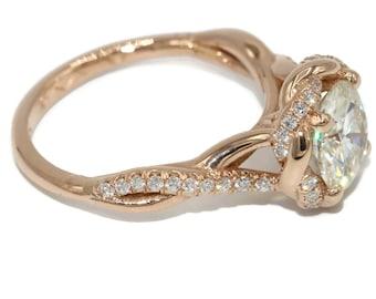 Boho Moissanite Rose Gold Engagement Ring With A Twist Braid Diamond Halo