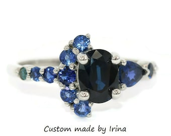 Crescent Ring, Blue Sapphire Engagement Ring, Oval Sapphire Ring, One Of A Kind Cluster Ring, Half Moon Sapphire Ring