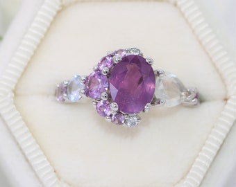 Pink Sapphire Cluster Engagement Ring by Irina