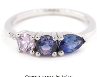 Linear Blue Purple Sapphire Cluster Engagement Ring by Irina