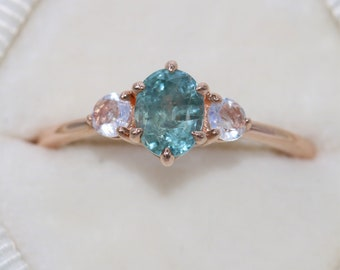 3 Stone Ring, Montana Sapphire Engagement Ring, Teal Green Sapphire Ring, 1 carat Teal Sapphire Ring, Ready To Ship, Finger Size 6.5
