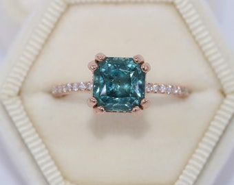 Sapphire Engagement Ring, Teal Solitaire Ring, 4 carat Teal Blue Unheated Sapphire Ring, Hidden Diamond Halo Ring, Mermaid Sapphire Ring