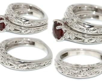 Leaf Diamond Ring, Custom Made Tourmaline or Aquamarine or Garnet Engagement Ring, Vintage Inspired Lacework Filigree Scroll Ring