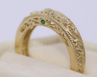 Vintage Style Scroll Work Organic Rustic Leaf Wedding Ring by Irina