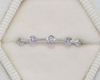 Beaded Wedding Ring, Bead Diamond Band, Half Eternity Band, Bead Wedding Band