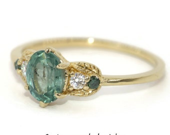 Three Stone Ring, Sapphire Engagement Ring, Teal Green Sapphire Ring, Sapphire Wreath Leaf Ring, 5 Stone Ring, Custom Made 3 Stone Ring