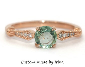 Unheated Montana Sapphire Engagement Ring, Teal Green Sapphire Ring, 14k Rose Gold Vintage Edwardian Style Ring