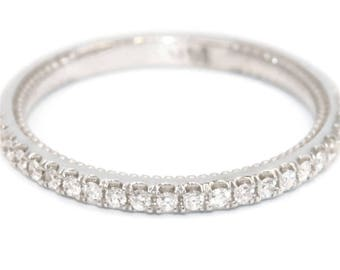 Stacking Wedding Diamond Ring, Half Diamond Eternity Ring, Mill Grain Diamond Wedding Band