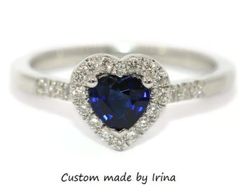 Heart Sapphire Ring, Romantic Ring, Valentine's Day Ring, Proposal Ring, Heart Blue Sapphire Ring