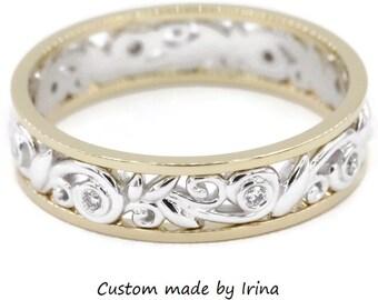Rustic Wedding Eternity Band, Vine Leaf Scroll Pattern Wedding Ring, Vintage Inspired Scroll Filigree Ring