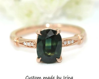 2 carat Forest Green Sapphire Ring, Mermaid Engagement Ring, Vintage Ring, Edwardian Ring, Parti Sapphire Ring, Ready To Ship, Size 6