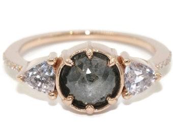3 Stone Rose Gold Rustic Boho Engagement Ring