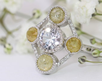 Art Deco Engagement Ring, 14k White Gold Diamond Ring, Natural White Sapphire Vintage Ring, Edwardian Inspired Ring, SIZE 6.5, Ready To Ship