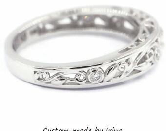 Leaf diamond wedding ring, rustic diamond ring, dainty bohemian nature inspired ring, boho ring, vintage filigree rustic wedding band