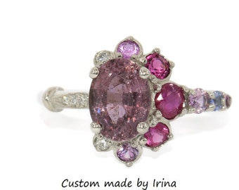 Celestial Half-Moon Crescent Ring, Unique Ombre One of a kind Cluster ring, Oval Cherry Pink Sapphire Ring, Vintage Inspired Asymmetric Ring