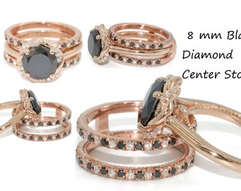 Black Diamond Engagement Ring set, rose gold engagement ring with matching ring guard, Nesting Engagement Rings Set, boho diamond rings