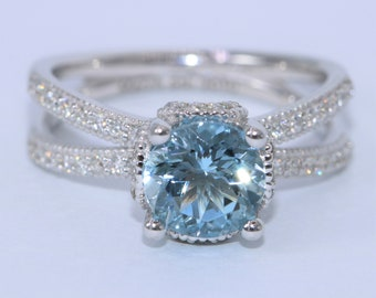 Custom Made Aquamarine Engagement ring, Vintage Style Inspired Mill Grains Flower Diamond Wedding ring