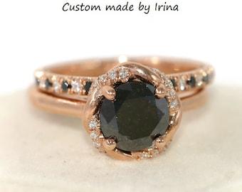 Black diamond engagement ring, rose gold Engagement Ring Set, boho engagement ring set, infinity halo bohemian rose gold wedding ring set