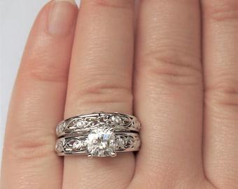 Rustic Vine Leaf Filigree Moissanite Engagement Ring Set, Organic Nature Scroll Pattern Wedding Rings Set, 7 mm Forever One Moissanite Rings