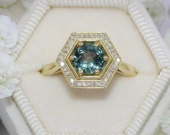 Hexagon Teal Montana Sapphire Ring, Blue Green Natural Montana Sapphire Engagement Ring, Custom Made Unheated Montana Sapphire Ring
