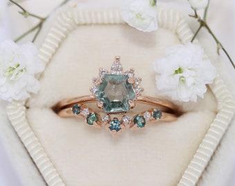 Pastel Hexagon Sapphire Ring, Half Halo Teal Hexagon Montana Sapphire Ring, Sunburst Diamond Ring
