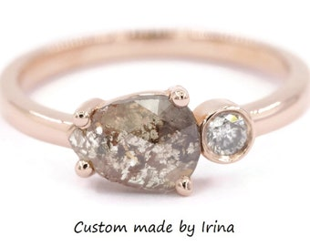 Pear Grey Rose Cut Diamond Ring, Rustic Gray Diamond Engagement Ring, East West Teardrop Diamond Ring, Custom Made Organic Boho Gold Ring
