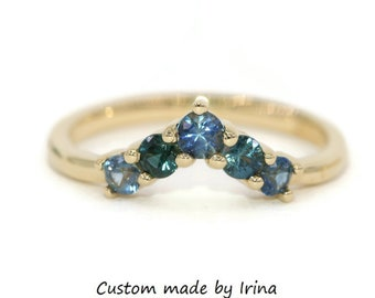 Nesting Wedding Band With Blue Green Ombre Sapphires Chevron Style