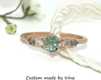 Pastel Montana Sapphire Engagement Ring, Round Teal Blue Sapphire Ring, Mini 5 stone ring, Five Stone Unheated Natural Montana Sapphire Ring