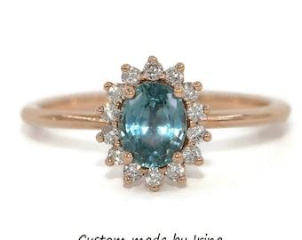 Pastel Montana Sapphire Ring, Diamond Halo Ring, Ocean Blue Oval Montana Sapphire Ring
