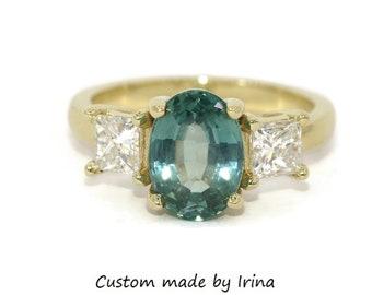 Princess Diamond Three Stone Ring, Montana Sapphire Engagement Ring, Custom Made 3 Stone Ring, Pastel Blue Green Sapphire Ring