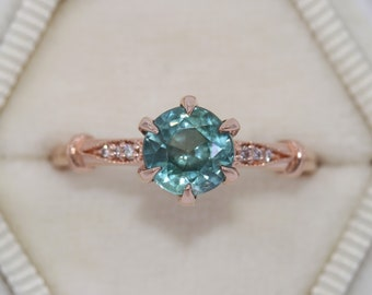 Vintage Inspired Ring, SETTING ONLY, Blue Green Teal Sapphire Ring, Unheated Natural Montana Sapphire Ring, Montana Sapphire Engagement Ring