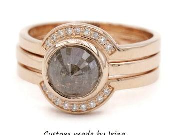 Rose Gold Rustic Diamond Stacking Ring Set by Irina