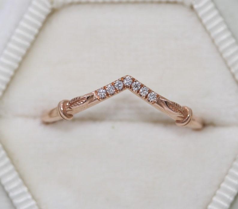 Leaf Wedding Ring Chevron Diamond Band V shape Wedding Ring image 0