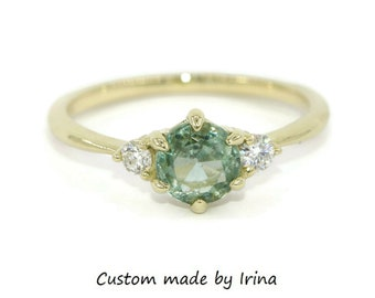 Green Gold Engagement Ring, 14k Green Gold 1 carat Teal Sapphire Ring, 3 Stone Unheated Montana Sapphire Ring, Three Stone Sapphire Ring
