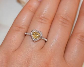 Heart Yellow Sapphire Ring, Romantic Valentine's Day Ring, Platinum Engagement Ring, Anniversary Gift, 1.3 carat Yellow Sapphire Ring