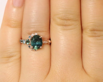 One Of A Kind Blue Green Cluster Sapphire Ring, Vintage Style Engagement Ring, Oval Teal Sapphire Engagement Ring, Unique Teal Sapphire Ring