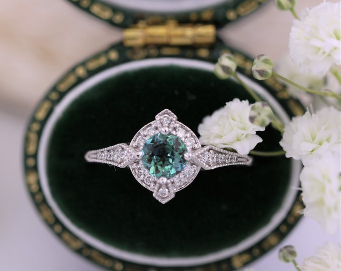 Featured listing image: Lab Alexandrite Edwardian Engagement Ring, Vintage Style Inspired Ring, Custom Made Ring by Irina