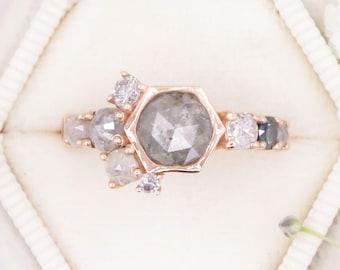 Hexagon Gray Diamond Rose Gold Cluster Engagement Ring, Salt + Pepper Rustic Diamond Ring, Rustic Grey Diamond Ring, Boho Wedding Ring