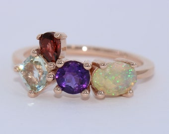 Custom Ombre Different Shape Stones Cluster Ring