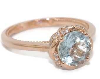Braided Halo Meaningful Aquamarine Engagement Ring by Irina