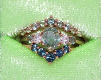1 carat Oval Montana Sapphire Ring, Pastel Green Sapphire 5 Stone Ring, Teal Green Sapphire Ring