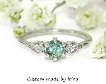Kite Diamond and Teal Green Montana Sapphire Ring