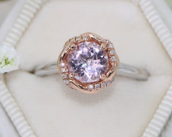 SALE, Natural Morganite Engagement Ring, Rope Ring, Braided Halo Ring, Two Tone Ring, One Of a Kind Ring, Strand Ring, Size 6, Ready To Ship