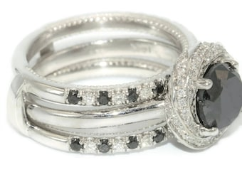 Black Diamond Engagement Ring Set With Ring Jacket by Irina