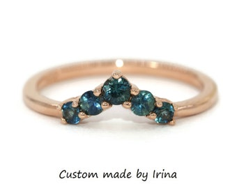 Chevron Nesting Wedding Band With Blue Green Ombre Sapphires