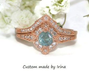 Pastel Blue Sapphire Edwardian Inspired Engagement Rings Set